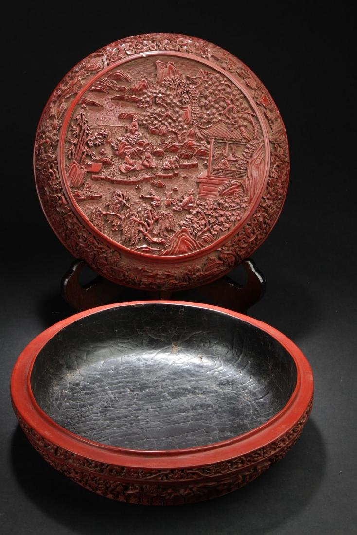 A Temple-sceen Estate Lidded Chinese Lacquer Box - 2