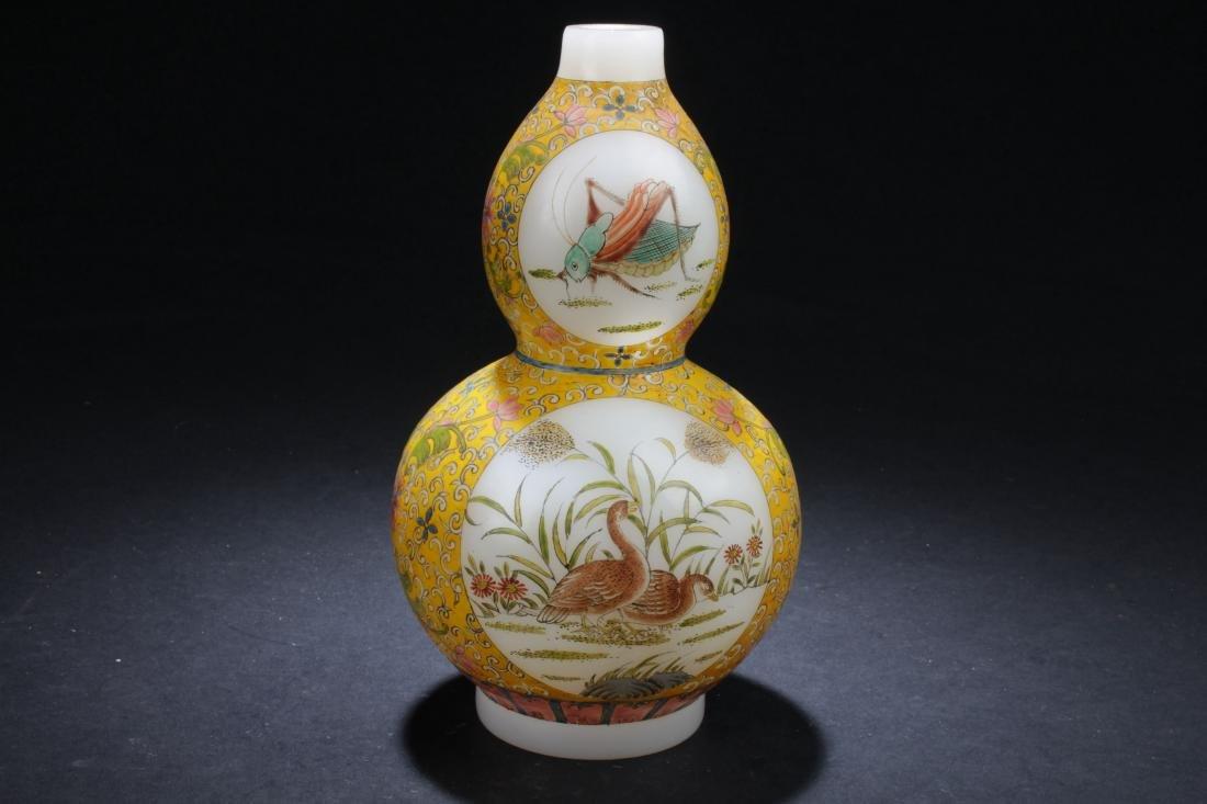 An Estate Chinese Windowed Calabash-shape Overlay Vase