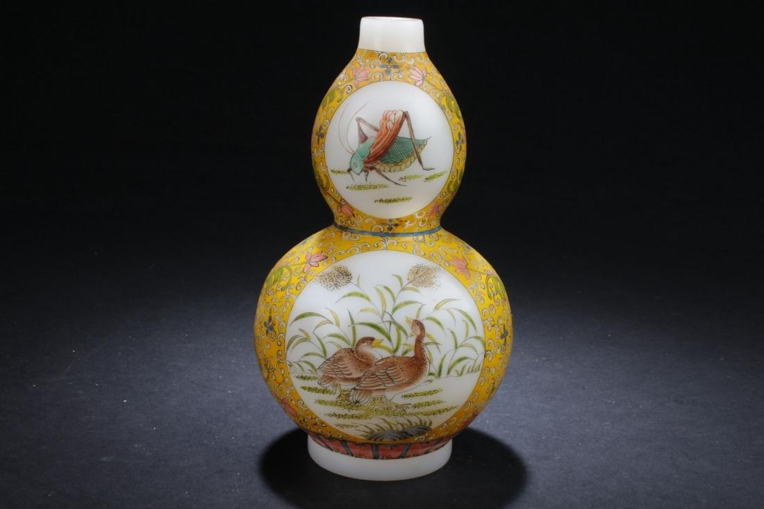 An Estate Chinese Windowed Calabash-shape Overlay Vase - 3