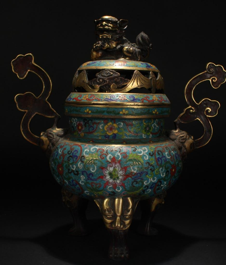 A Duo-handled Chinese Cloisonne Estate Censer Display