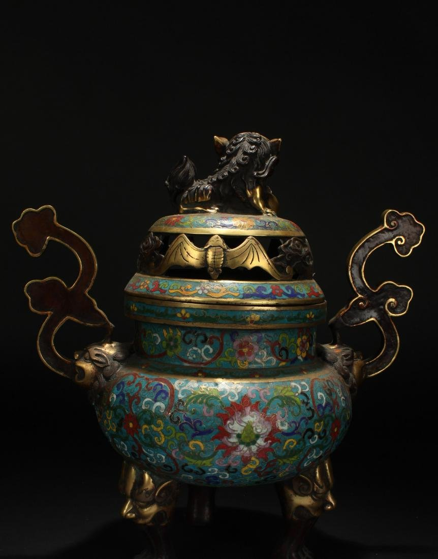 A Duo-handled Chinese Cloisonne Estate Censer Display - 4