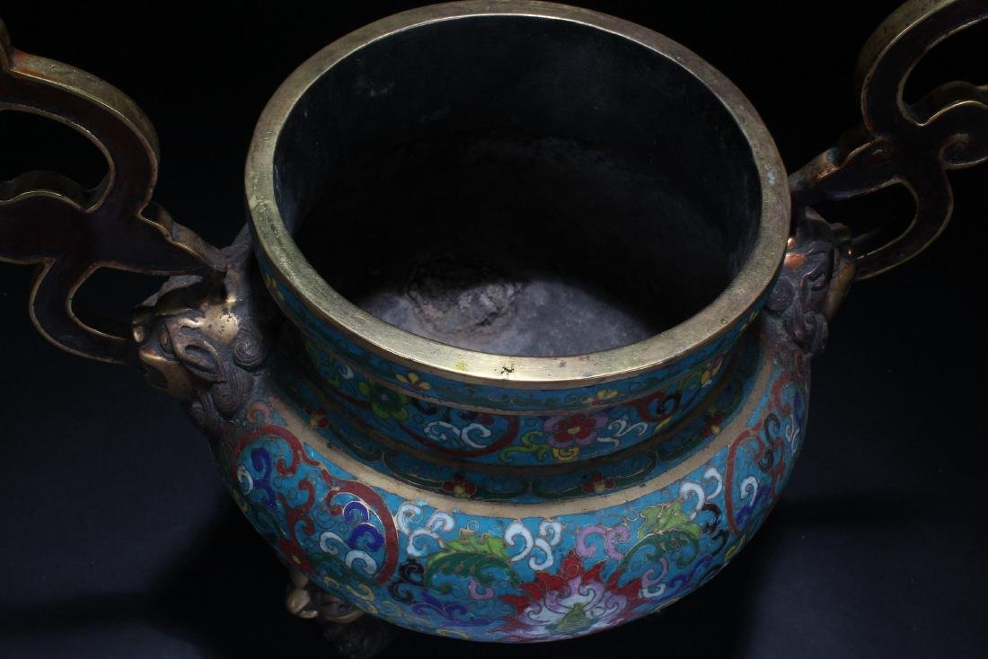 A Duo-handled Chinese Cloisonne Estate Censer Display - 5