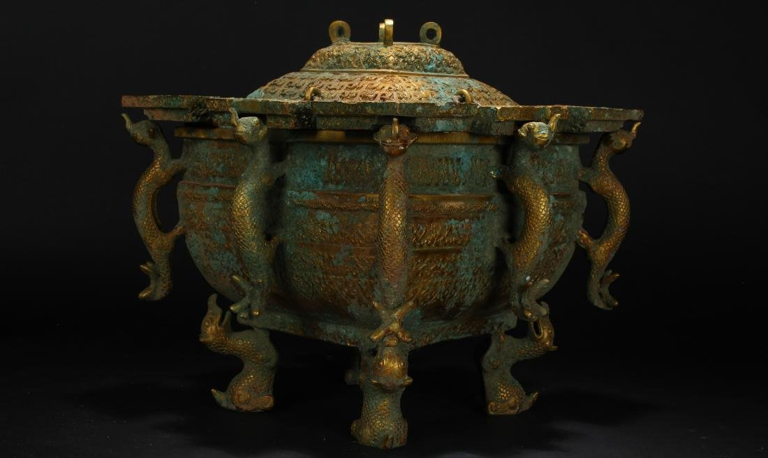 An Estate Chinese Bronze Vessel Anicent-framing - 2
