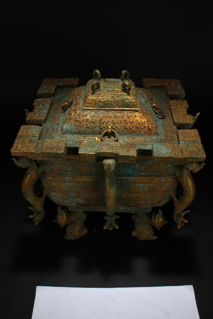 An Estate Chinese Bronze Vessel Anicent-framing - 3