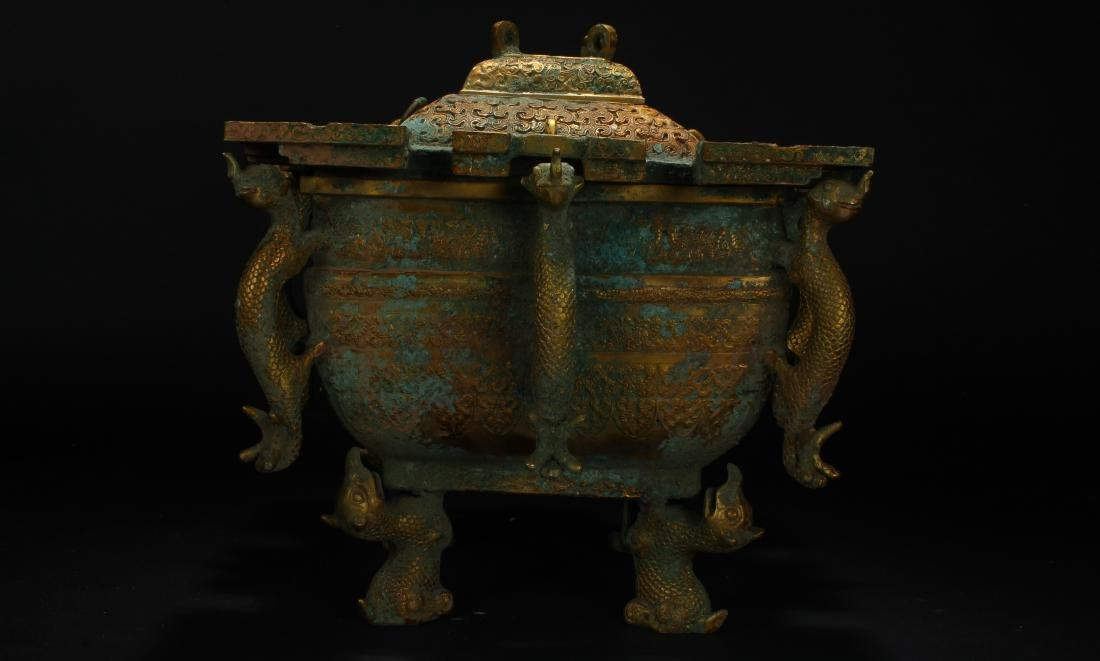 An Estate Chinese Bronze Vessel Anicent-framing - 4