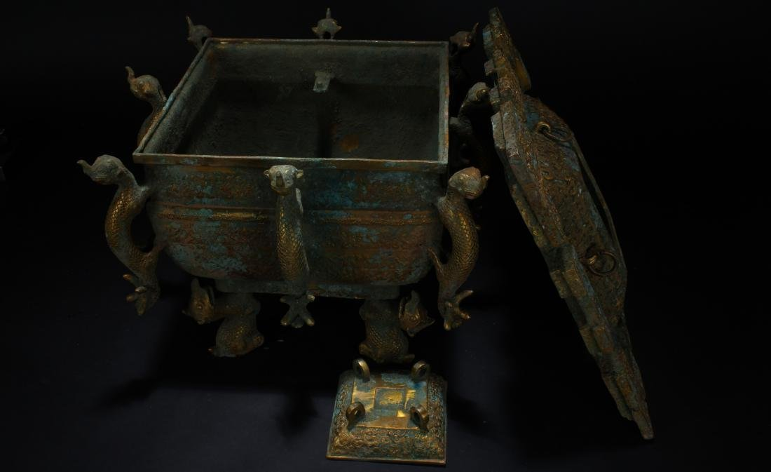 An Estate Chinese Bronze Vessel Anicent-framing - 5