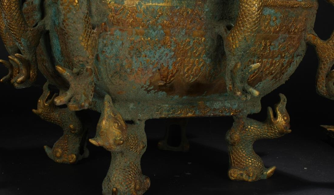 An Estate Chinese Bronze Vessel Anicent-framing - 9