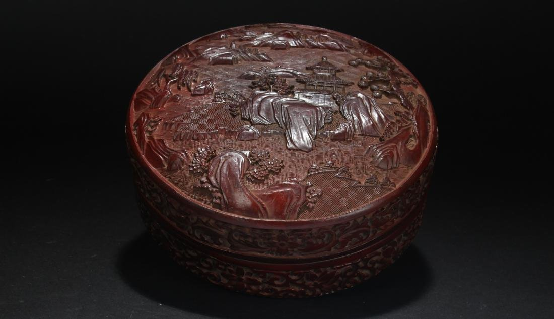 A Chinese Lidded  Estate Lacquer Temple-sceen Box
