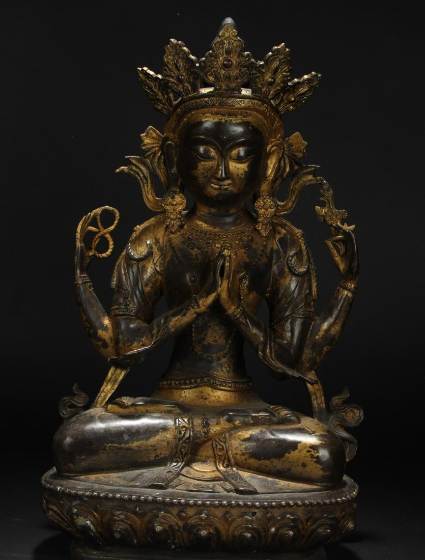 A Tibetan Loctus-framing Chinese Buddha Statue