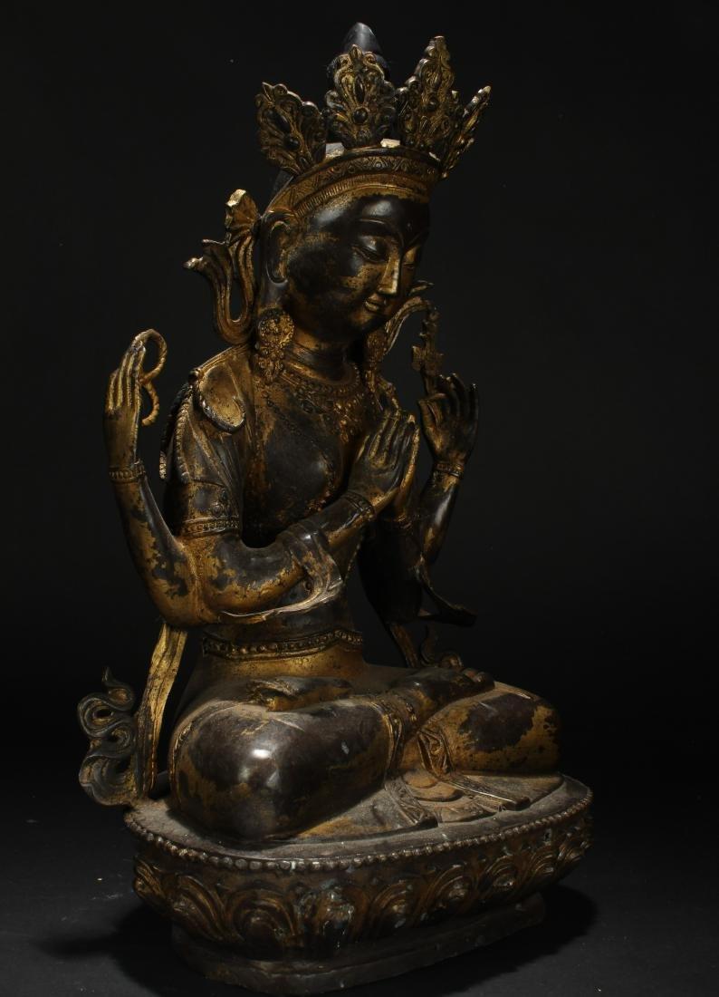 A Tibetan Loctus-framing Chinese Buddha Statue - 2