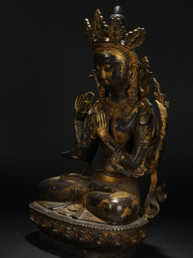A Tibetan Loctus-framing Chinese Buddha Statue - 3