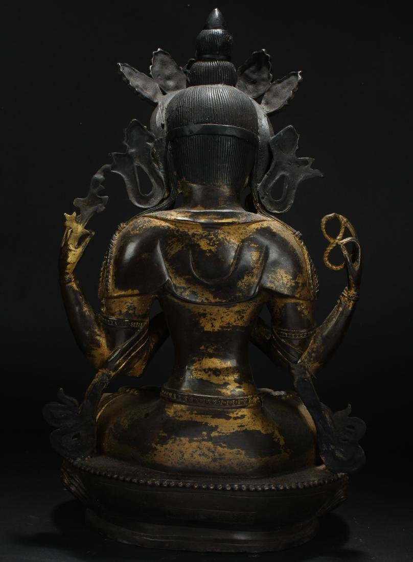 A Tibetan Loctus-framing Chinese Buddha Statue - 4