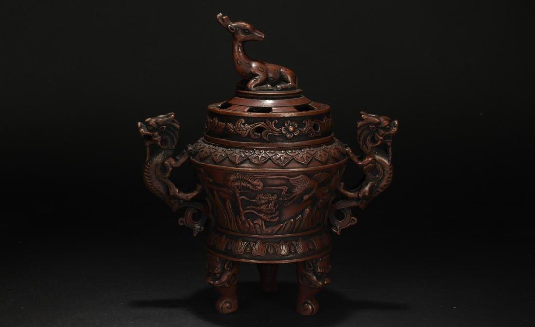 A Duo-handled Chinese Dragon-decorating Censer