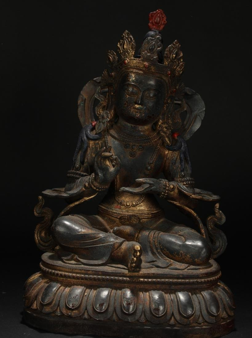 An Estate Tibetan Pondering-pose Statue Display