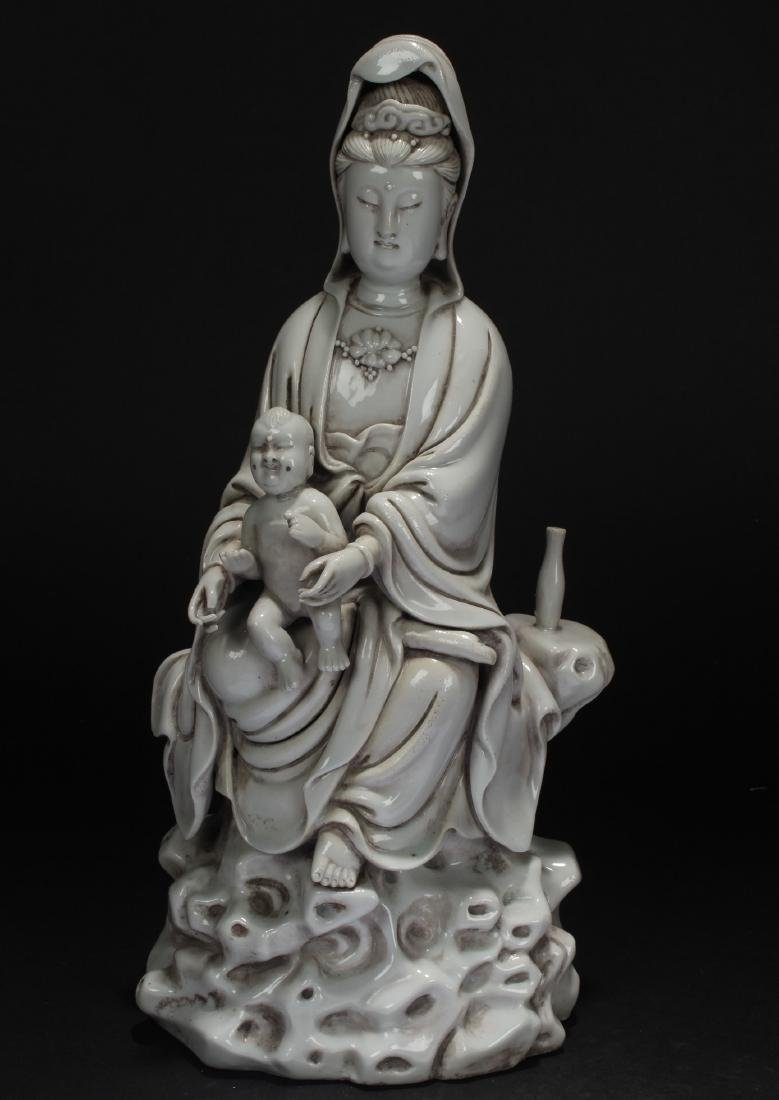 A Chinese White Porcelain Estate Guanyin Statue