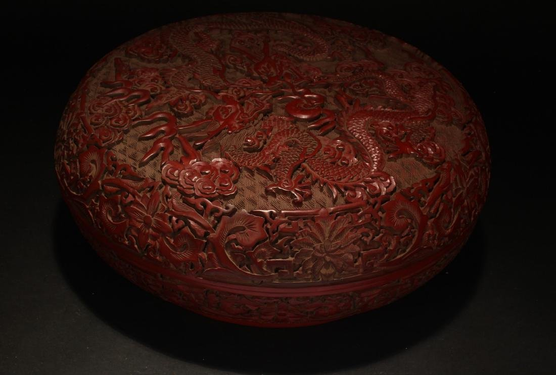 A Chinese Dragon-decorating Estate Lacquer Box - 8
