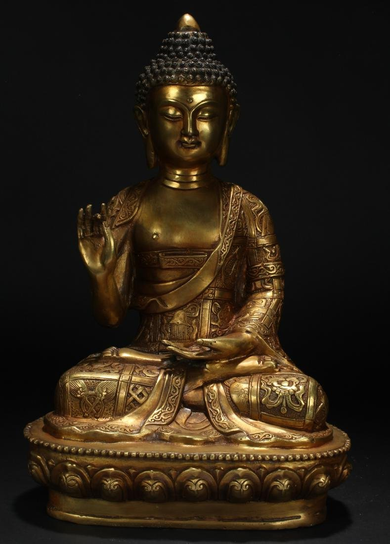 An Estate Chinese Pondering-pose Gilt Statue