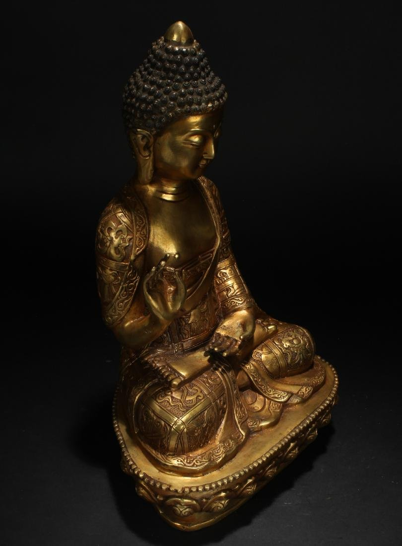 An Estate Chinese Pondering-pose Gilt Statue - 2