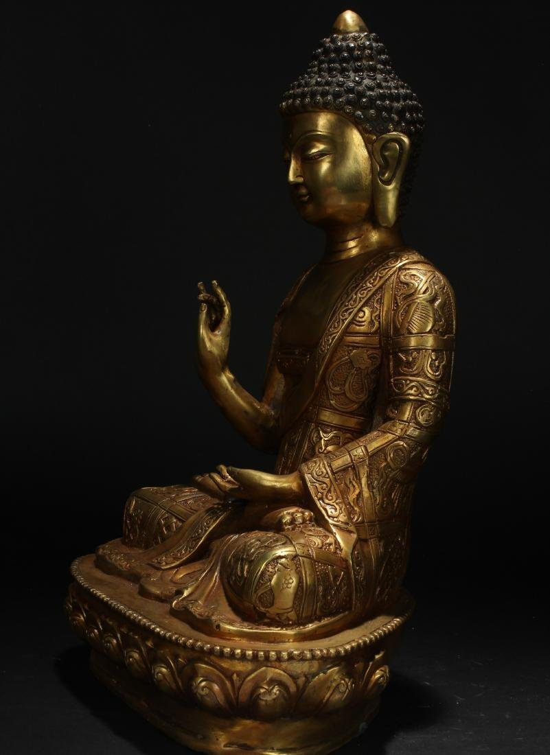 An Estate Chinese Pondering-pose Gilt Statue - 3