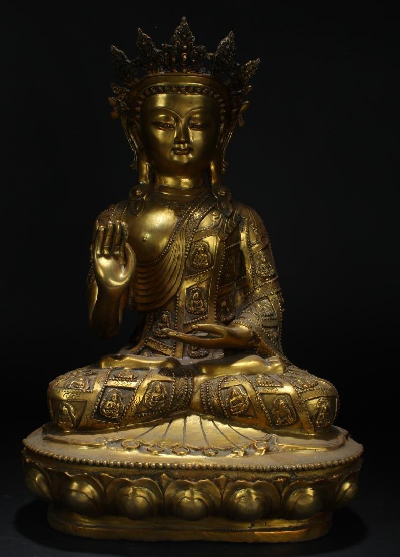A Tibetan Buddha-fortune Estate Gilt Statue