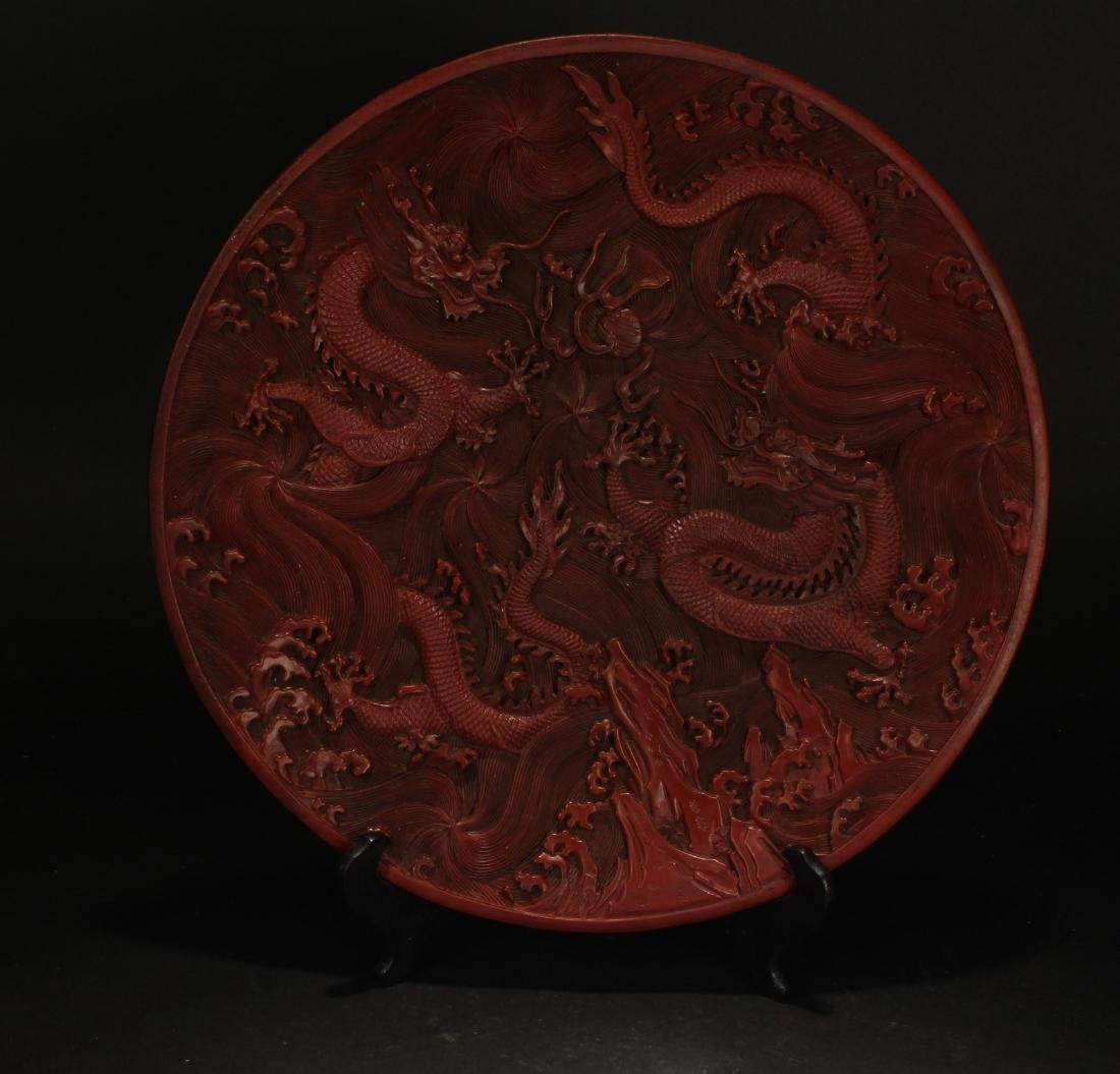 A Chinese Dragon-decorating Estate Lacquer Plate