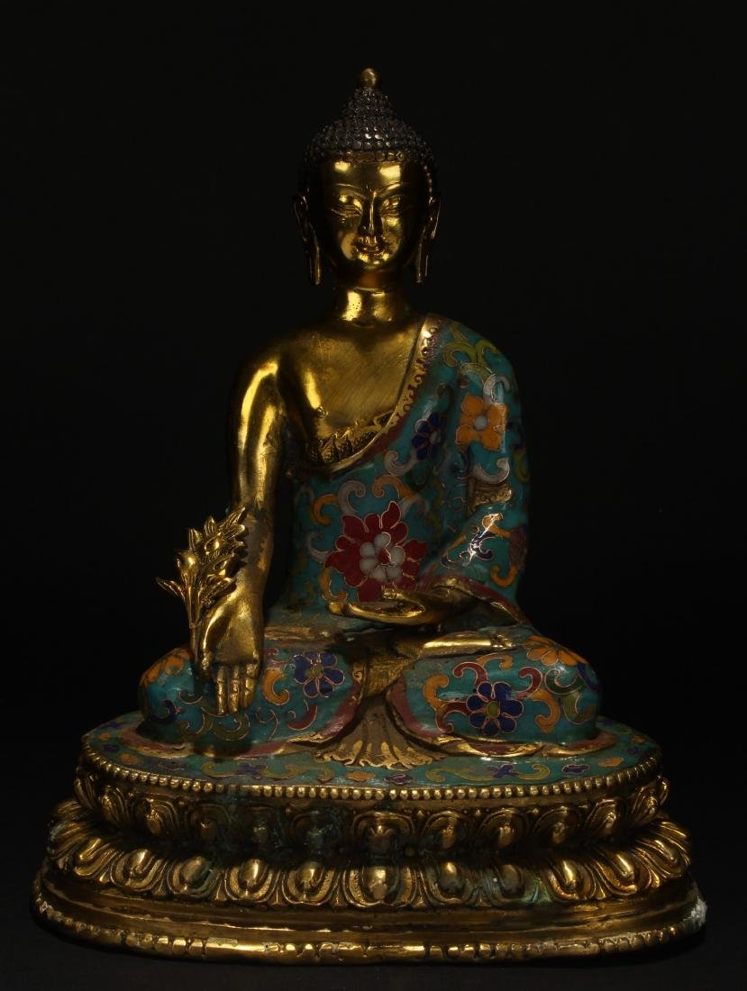 A Chinese Estate Cloisonne Buddha Loctus-seated Statue