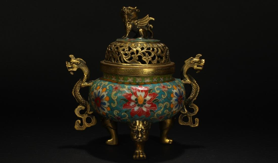 A Chinese Duo-handled Estate Tri-podded Cloisonne