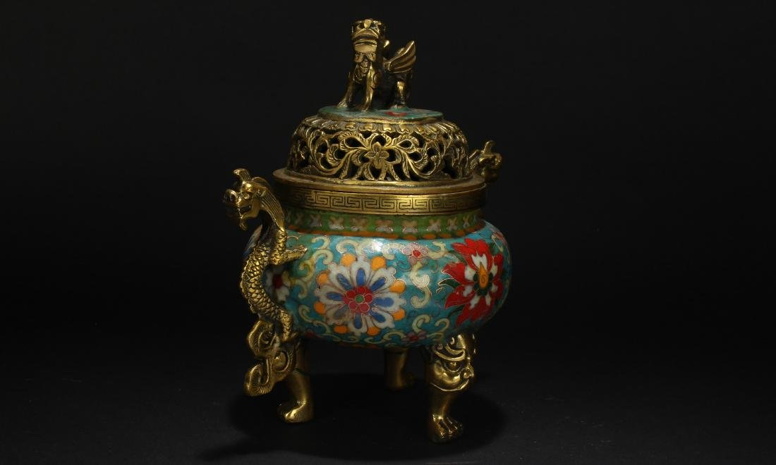 A Chinese Duo-handled Estate Tri-podded Cloisonne - 2