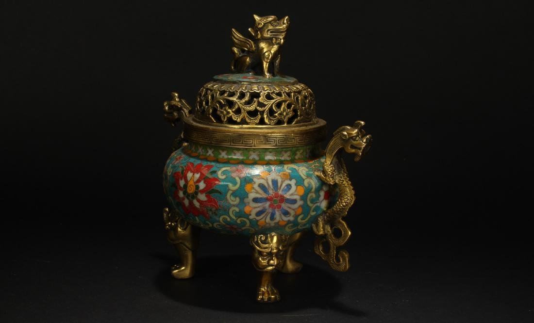 A Chinese Duo-handled Estate Tri-podded Cloisonne - 3