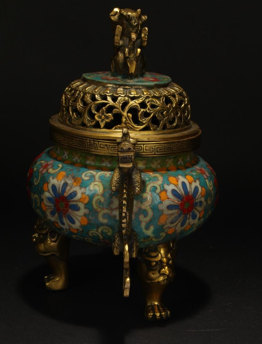 A Chinese Duo-handled Estate Tri-podded Cloisonne - 5