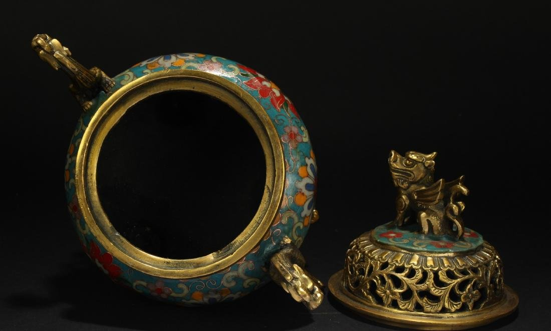 A Chinese Duo-handled Estate Tri-podded Cloisonne - 6