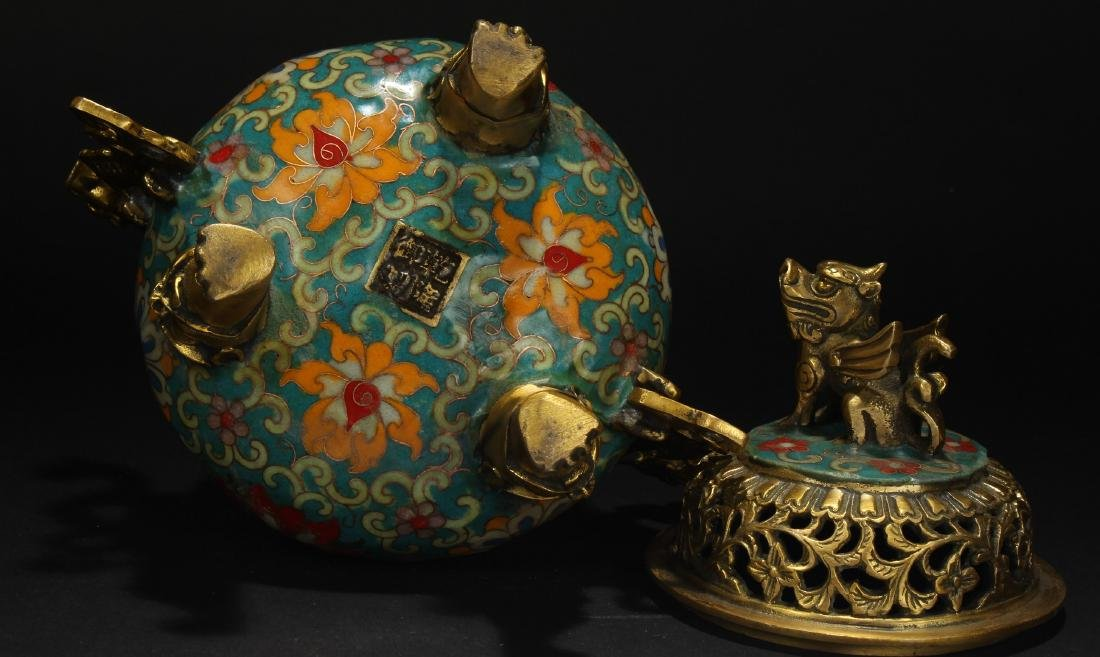 A Chinese Duo-handled Estate Tri-podded Cloisonne - 7
