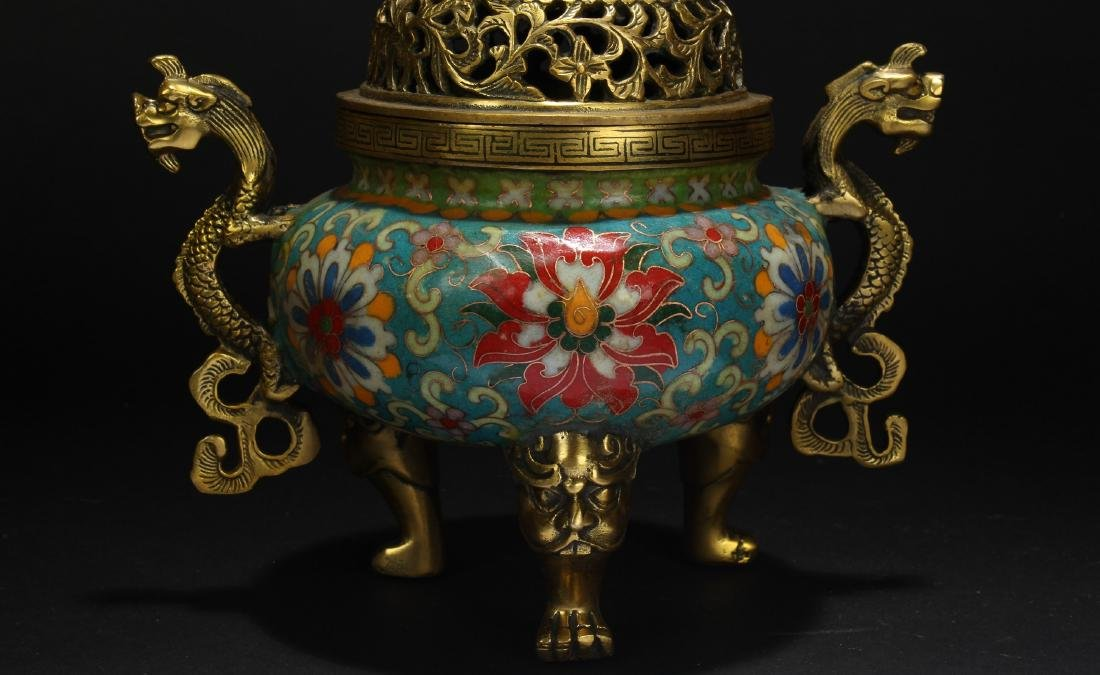 A Chinese Duo-handled Estate Tri-podded Cloisonne - 9