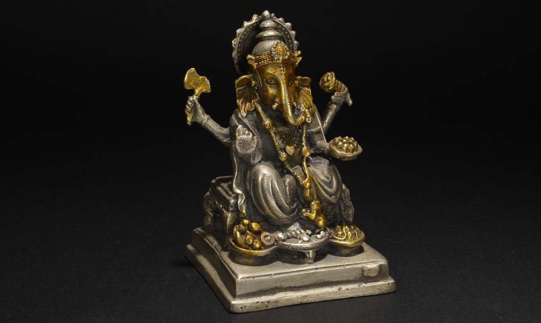 An Estate Tibetan Gilt Fortune Statue