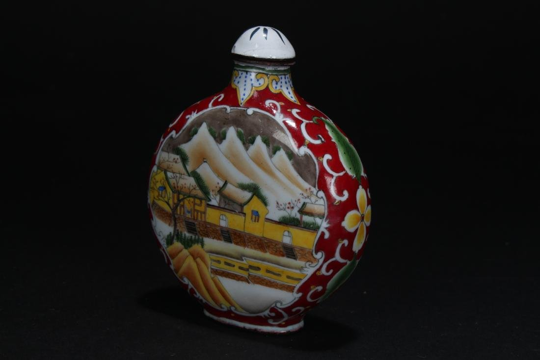 A Chinese Temple-sceen Estate Snuff Bottle