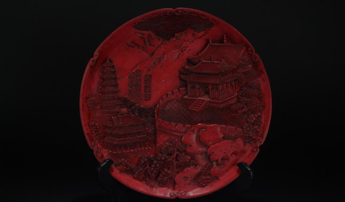 An Estate Chinese Temple-sceen Display Plate