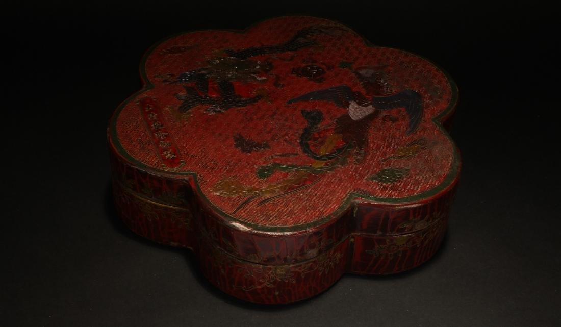 A Plumflower-fortune Chinese Estate Lacquer Box