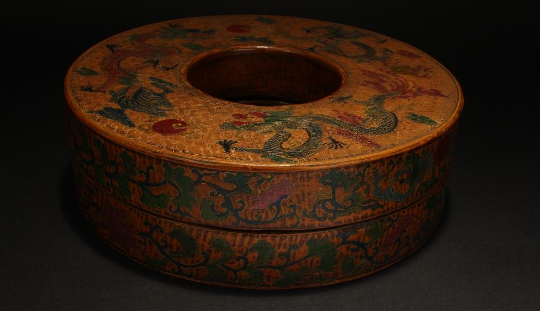 A Lidded Chinese Circular Estate Lacquer Box