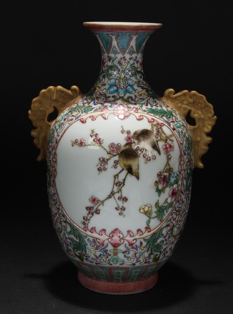 A Duo-handled Nature-sceen Chinese Porcelain Vase