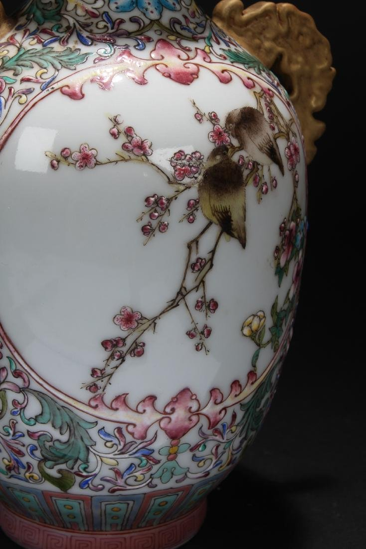 A Duo-handled Nature-sceen Chinese Porcelain Vase - 2