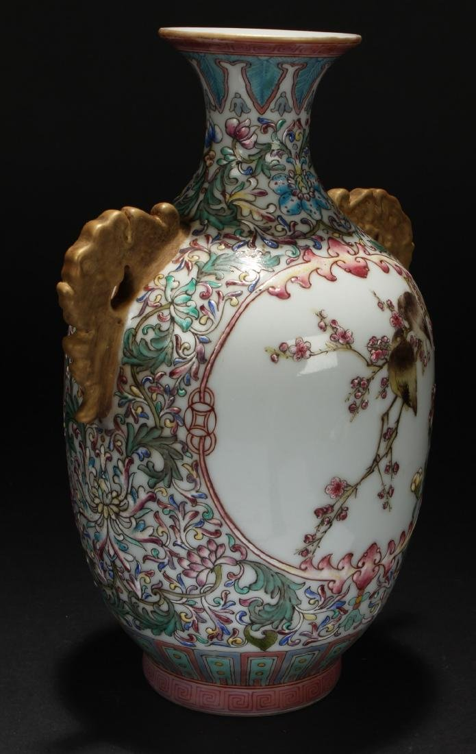 A Duo-handled Nature-sceen Chinese Porcelain Vase - 3
