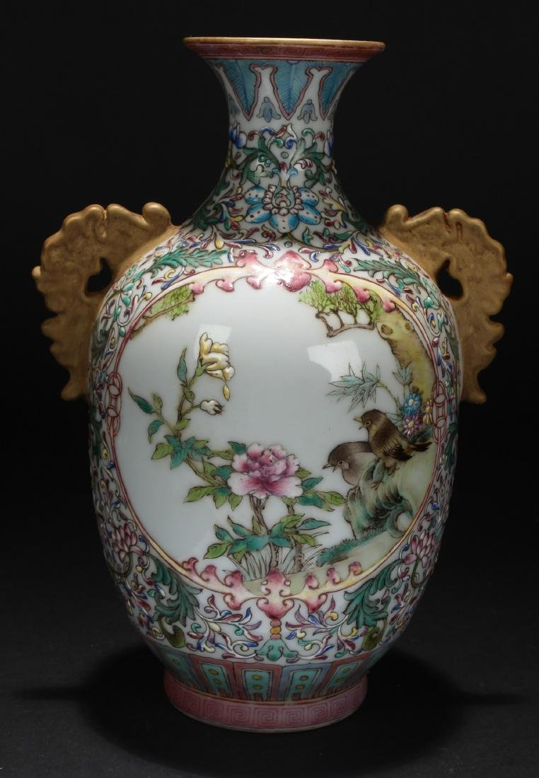 A Duo-handled Nature-sceen Chinese Porcelain Vase - 4