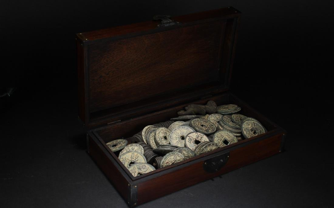 A Coin-filled Chinese Estate Wooden Box