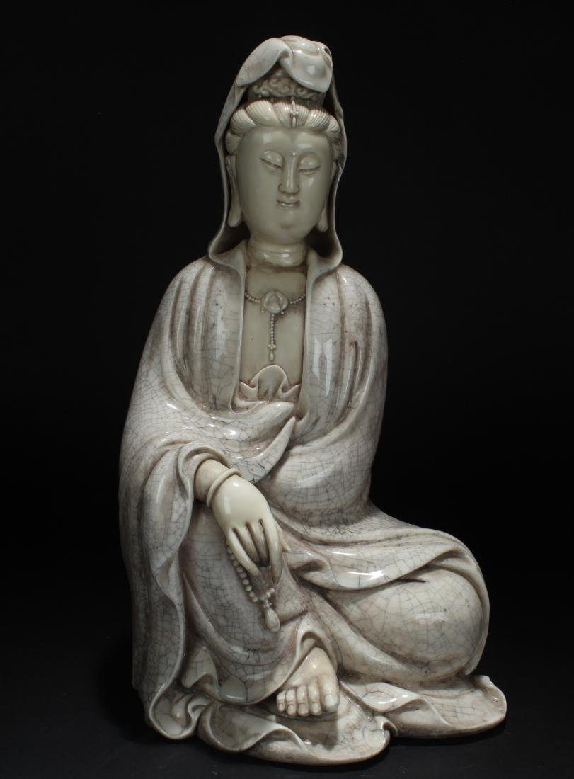 An Estate Chinese White Porcelain Guanyin Statue