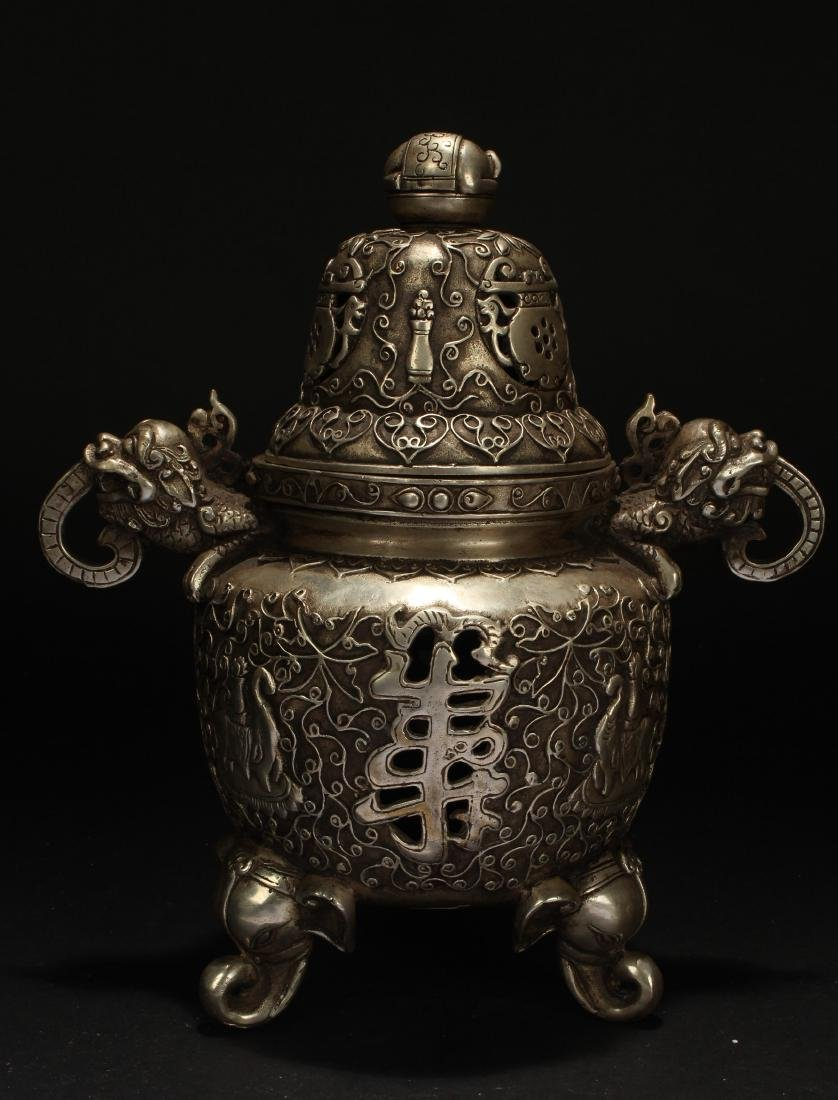 A Duo-handled Chinese Estate Censer Display