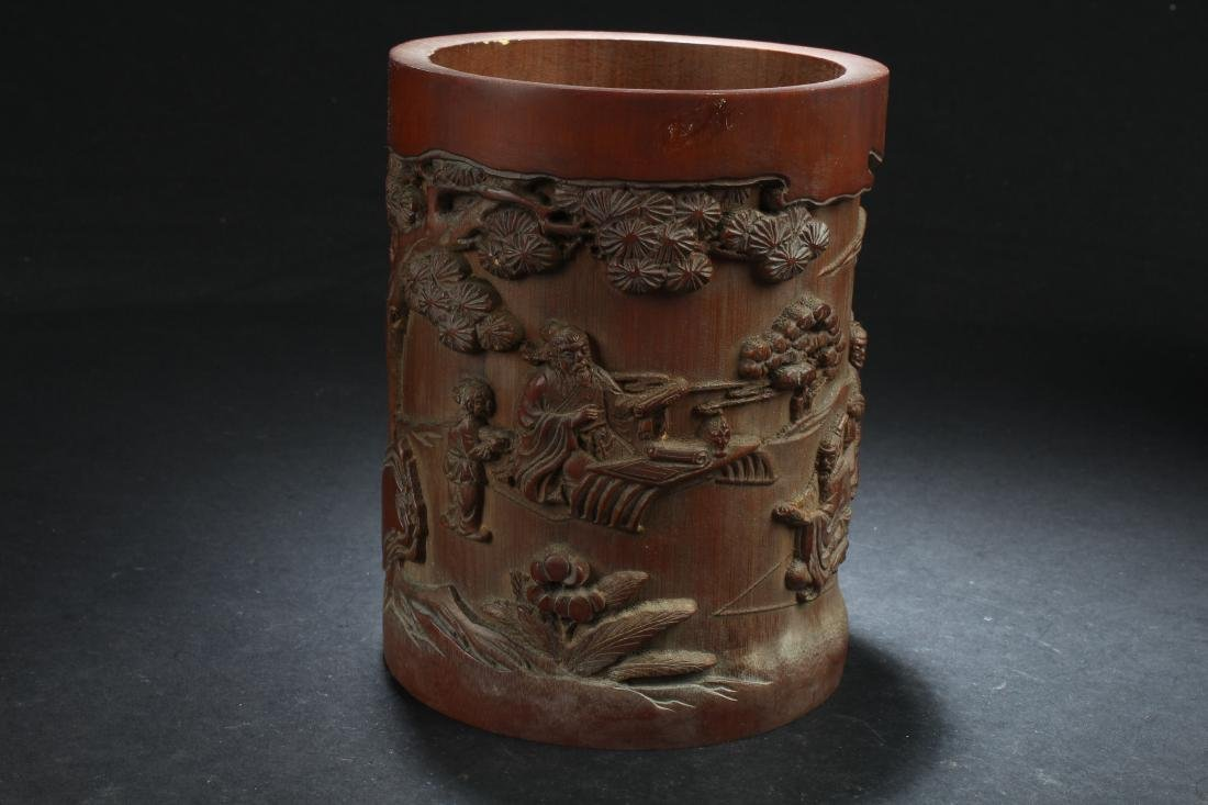 A Chinese Estate Bamboo-fortune Brush Pot Display