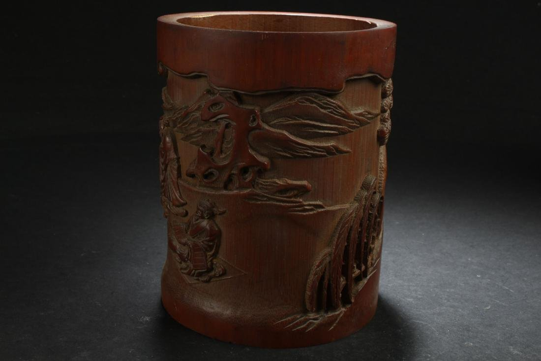 A Chinese Estate Bamboo-fortune Brush Pot Display - 3