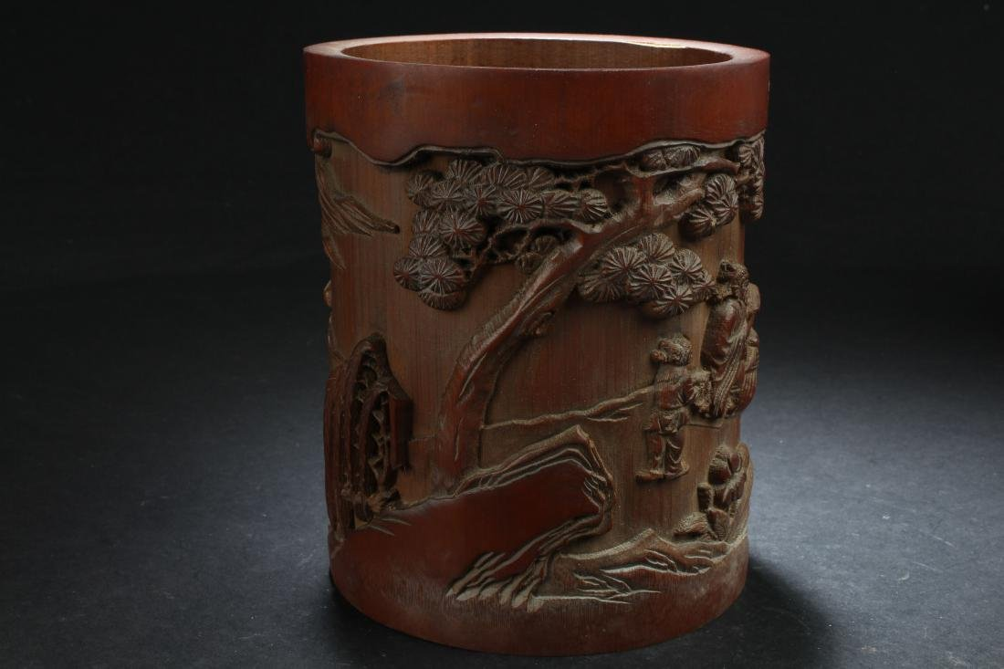 A Chinese Estate Bamboo-fortune Brush Pot Display - 4