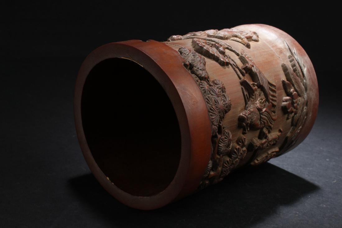 A Chinese Estate Bamboo-fortune Brush Pot Display - 5