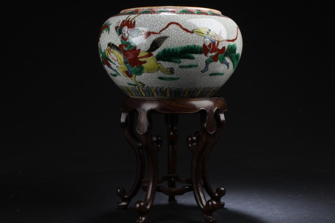 A Seated Chinese Estate Porcelain Battle-field Display